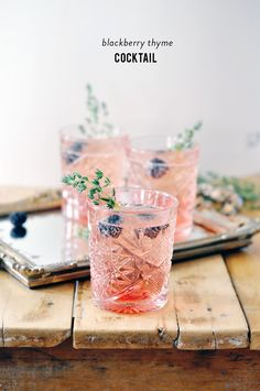 Blackberry, thyme sparkling cocktail