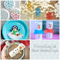 5 Fun and Easy Cold Winter Weekend Crafts. In the winter there are often days when going outside to play isn't an option.  Because we live in the South we don't have snow or a lot of really cold days, but we do get a lot of rain in the winter. There are also weeks that it is really cold {for us}. Of course on those days the kids don't go outside much.  They get a little cabin fever and I end up wanting to pull my hair  {Read More}