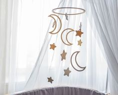 Baby mobile moon and stars - Crib mobile - baby mobiles - nursery mobile - wooden mobile - mobile bebe - star mobile - mobile hanging Star Mobile, Mobile Mobile, Cloud Mobile, Unique Baby Gifts, Gifts For Mom, Moon Nursery, Star Nursery, Future Mom, Etsy Handmade