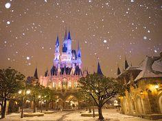 夜になったらますます幻想的な景色に。どこか別の世界に迷い込んだようです。 Photo by  M.T    Tokyo Disneyland in the snow