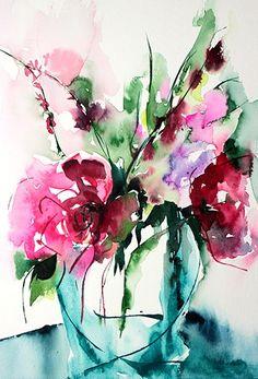 Etincelle - Painting, 24x30 cm ©2013 par Véronique Piaser-Moyen - Peinture, aquarelle, fleurs, fleur, bouquet, bouquets, peinture, art contemporain, art, contemporaine