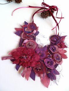 Morning beauty II, fiber art purple necklace, featured In Autumn 2011 Belle Armoire Jewelry Magazine