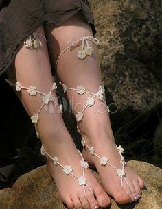 エレガントなかぎ針編みの足首ストラップ
