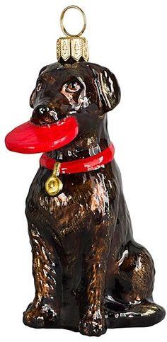 Joy to the World Chocolate Labrador Retriever with Flying Disc Ornament