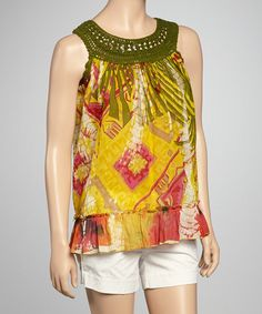 Take a look at this Moss Green Abstract Crocheted Yoke Top by Love Token on #zulily today!