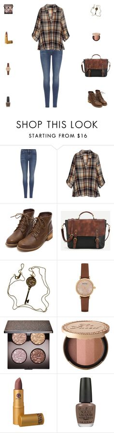 """Contest: Denim, Leather & Brown Plaid Outfit"" by billsacred ❤ liked on Polyvore featuring 7 For All Mankind, Bobeau, Tiffany & Co., Emporio Armani, Laura Mercier, Too Faced Cosmetics, Lipstick Queen and OPI"