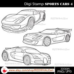 Sports Cars4/ Black & White /Digital Images/ Clipart Elements Set / 3 PNG/JPG / For Personal and Commercial use/ Clip Art/ Instant Download by REDWHALEart on Etsy
