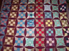 Vintage hand stitched & quilted Quilt, table topper, Glorified nine patch,  blanket folk art 69 x 77..Reduced..WAS 38.88 on Etsy, $31.99