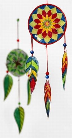 A Wind Chime in Shrink Plastic Sheets. My friend Amanda wants to make this so ill pin it so she'll remember.