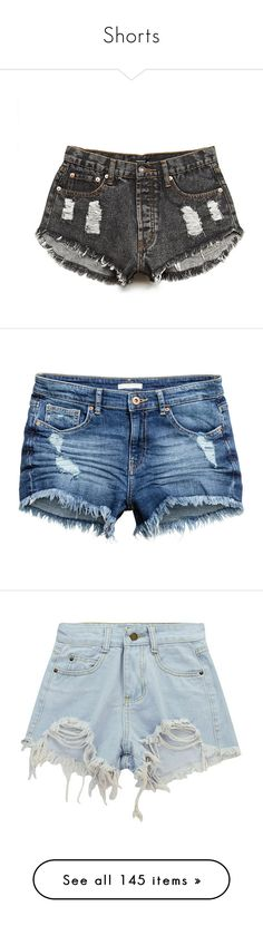 """Shorts"" by ultimatefangirl-459 ❤ liked on Polyvore featuring shorts, short, bottoms, pants, distressed denim shorts, frayed shorts, forever 21 shorts, cutoff shorts, short shorts and destroyed denim shorts"