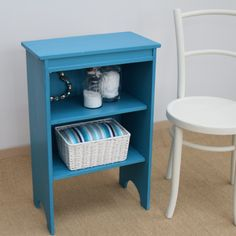 Cute little vintage pine bookcase painted in a peacock blue chalk paint…