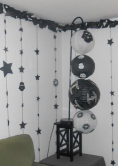 Star Wars party lantern, star hangings and tissue paper garland
