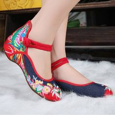 Women Chinese Embroidered Flower Flat Shoes Ladies Mary Janes Cotton Ballet Loaf - US$20.35