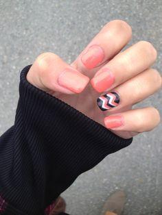 pink and black chevron nails