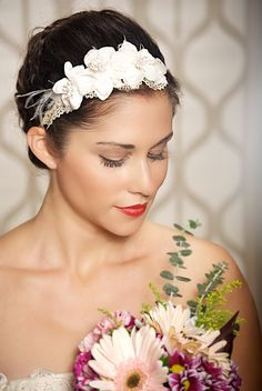 Ivory Lace Bridal Headband Elegant Bridal Headpiece Vintage Champagne Hair Flowers - Made to Order - MAGDELENA
