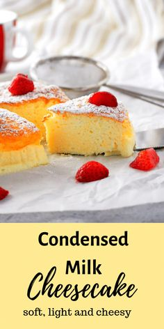 Condensed Milk Cheesecake – Woman Scribbles If you want a cheesecake that is light and creamy with just the right level of indulgence, try this condensed milk cheesecake and be delighted by its soft and delicate texture. Homemade Cake Recipes, Best Dessert Recipes, Easy Desserts, Sweet Recipes, Baking Recipes, Cookie Recipes, Delicious Desserts, Yummy Food, Easy Sweets