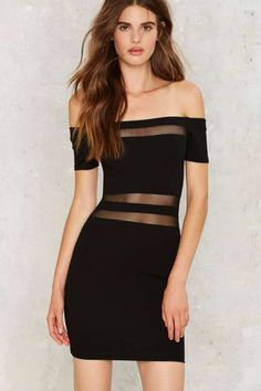 Peep Dis Off the Shoulder Mesh Dress