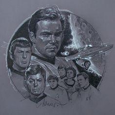 Star Trek by Drew Struzan Comic Books Art, Comic Art, Book Art, Jc Leyendecker, Movie Poster Art, Art Station, Art Images, Star Trek, Art Reference