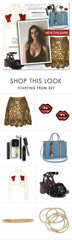 """""""How to Style a Gold Metallic Skirt with a White Crop Top Sweater and Black Block Heeled Sandals for Travel to New Orleans"""" by outfitsfortravel ❤ liked on Polyvore featuring Matthew Williamson, George J. Love, Bobbi Brown Cosmetics, Off-White, See by Chloé, AMBUSH, ABS by Allen Schwartz and AB A Brand Apart"""