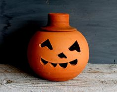 Two Piece Vintage Terra Cotta Pumpkin by shavingkitsuppplies on Etsy.