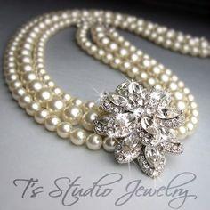 CAROLYN   Multi Strand Pearl Bridal Necklace by TZTUDIO on Etsy, $130.00