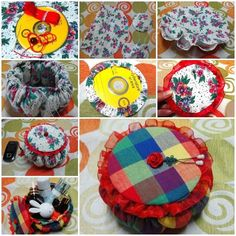 DIY Cute Little Storage Basket with Old CDs What you need: Fabric; Old CDs; Recycled Cds, Recycled Crafts, Handmade Crafts, Diy Crafts, Old Cd Crafts, Sewing Crafts, Cd Diy, Old Cds, Recycling