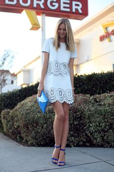 Spring/Summer Trend: The 'LWD' or Little White Dress. Pair with bright pops of color. I love yellow or turquoise
