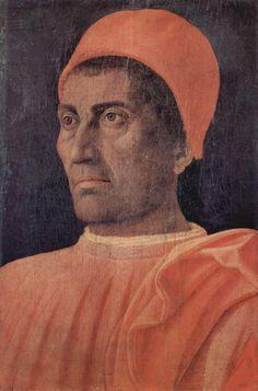 Andrea Mantegna.  Porträt des Kardinals Carlo de' Medici. 1466, Holz, 40,5 × 29,5 cm. Florenz, Galleria degli Uffizi. Italien. Renaissance.  KO 03241