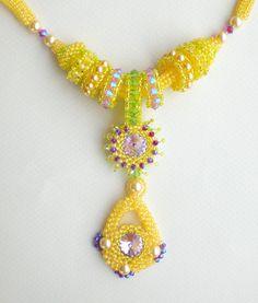 Rivoli Crystal Beadwoven Necklace Yellow Purple Unique Beaded Beadwork Beadweaving Jewelry August Sun. $100.00, via Etsy.