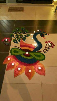 Peacock rangoli Easy Rangoli Designs Diwali, Rangoli Simple, Rangoli Designs Latest, Simple Rangoli Designs Images, Latest Rangoli, Free Hand Rangoli Design, Small Rangoli Design, Rangoli Ideas, Beautiful Rangoli Designs