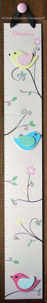 Alexandra Birds Wooden Growth Chart by LittleElephantCo on Etsy, $89.99