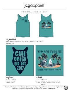 JCG Apparel : Custom Printed Apparel : Chi Omega Bid Day T-Shirt #chiomega #chio #xo #bidday #wherethechiomegasare #wherethewildthingsare #owl #beach