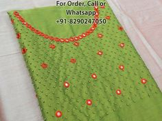 For Order, Call or Whatsapp on or visit insta page WOMN CLOTHING. we are designer studio specialized in custom designer dresses. No CASH ON DELIVERY, worldwide delivery. Simple Embroidery Designs, French Knot Embroidery, Hand Embroidery Dress, Embroidery Stitches Tutorial, Embroidery Saree, Salwar Neck Designs, Dress Neck Designs, Fancy Blouse Designs, Churidhar Designs