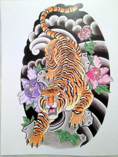 japanese tiger tattoo design japanese tattoo style tiger colored with . Tattoo Japanese Style, Japanese Tiger Tattoo, Japanese Tattoo Designs, Japanese Sleeve Tattoos, Side Body Tattoos, Girl Back Tattoos, Tattoo Girls, Couple Tattoos, Asian Tattoos