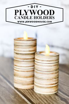 LOVE THIS! I can't believe she made these cute candle holders out of scrap plywood! Looks easy to do.