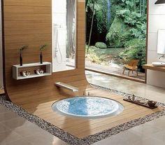 Yoga, hot tub, green tea in the atrium