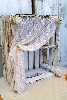 decor, distressed wood, french farmhouse, lace curtains, diy idea, white distressed crates, shelv, wood crates, wooden walls