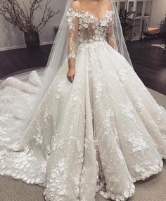 ball gown wedding dresses lace appliques long sleeve hand made flowers puffy bridal dresses 2019 vestidos de noiva Applique Wedding Dress, Wedding Dress Sleeves, Long Wedding Dresses, Long Sleeve Wedding, Princess Wedding Dresses, Cheap Wedding Dress, Bridal Dresses, Gown Wedding, Lace Wedding