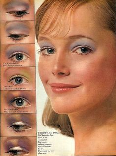 1970s eye makeup from Seventeen magazine A girl can never wear too much blue eye shadow.....lol