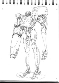 Fineliner on tracing paper. Robot Concept Art, Robot Art, Character Concept, Character Art, Character Illustration, Illustration Art, Robot Design, Character Design References, Illustrations