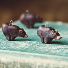 handmade ceramic brown bear charms by kylie parry studios.