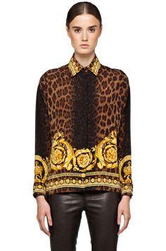VERSACE | Leopard Silk Blouse in Gold -