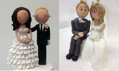 bride and groom cake toppers wedding cake toppers by Handi's Cakes left and by Karen Davies right Camo Wedding Cakes, White Wedding Cakes, Wedding Cake Designs, Bride And Groom Cake Toppers, Wedding Cake Toppers, Modeling Chocolate Figures, Karen Davies, Cake Topper Tutorial, Dragon Cakes
