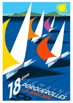 Travel Poster - Porquerolles - France - by Richard Zielenkiewicz.