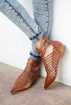 Refined Leather Booties Genuine Leather | FOREVER21 $59.80