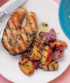 17 easy grilled fish and shrimp recipes/Gingery Salmon With Peaches Recipes With Fish And Shrimp, Grilled Fish Recipes, Easy Salmon Recipes, Grilled Salmon, Grilled Peaches, Grilled Shrimp, Tilapia Recipes, Orange Recipes, Grilled Pizza
