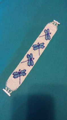 Dragonfly Beaded Bracelet by TheBeadedPage on Etsy Loom Bracelet Patterns, Bead Loom Bracelets, Bead Loom Patterns, Beaded Jewelry Patterns, Beading Patterns, Bead Loom Designs, Seed Bead Jewelry, Beads And Wire, Loom Beading
