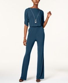 NY Collection Petite Jumpsuit with Necklace