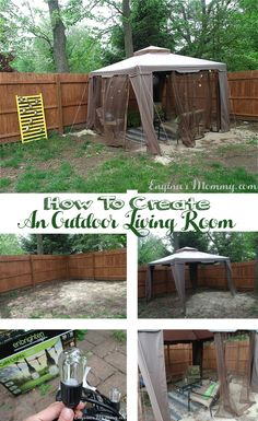 Looking for a fun way to spruce up your outdoor space? Create an outdoor living room easily using these tips and ideas! Small Patio Ideas On A Budget, Patio Decorating Ideas On A Budget, Budget Patio, Diy Patio, Backyard Patio, Backyard Ideas, Decor Ideas, Small Balcony Garden, Small Backyard Pools