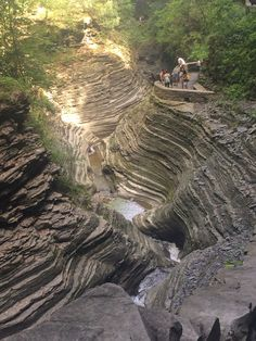 Devonian stratigraphy laid bare at Watkins Glen State Park, New York.